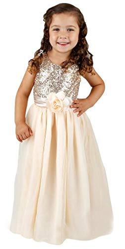 Bow Dream Flower Girl's Dress Sequins Tulle Gold 7