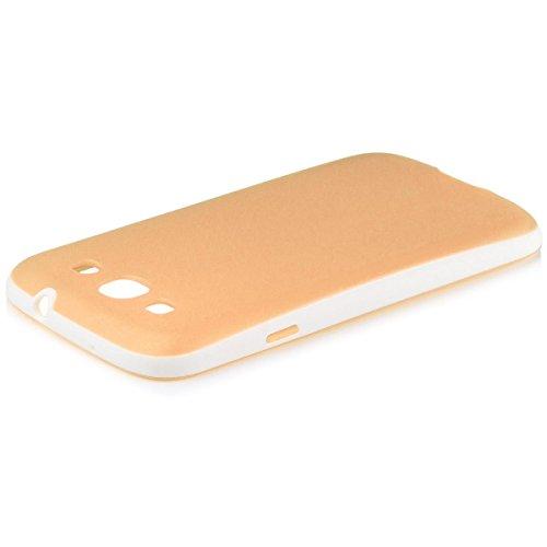 iCues Samsung Galaxy S3 Neo & S3 Bicolor TPU Case Orange   Protezione Coperchio Coperchio [Screen Protector Compresi] Cassa della Pelle del Gel di Silicone Custodia Cover Case Tasca Borsa