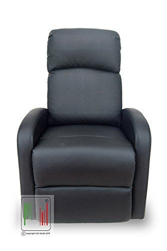 Stil Sedie - Poltrona reclinabile Recliner con Tre Livelli di Posizione Poltrona Relax, Poltrona TV, Poltrona Letto MOD Vittoria Colore Nero