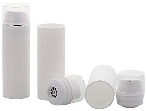 Leerer Kosmetex Airless Pumpspender 50ml, Silberstreifen Cremespender, Lotion und Gelspender zum selbst Befüllen, 3 x 50 ml