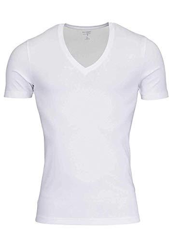 OLYMP T-Shirt Level Five Body fit tiefer V-Ausschnitt weiß Größe L