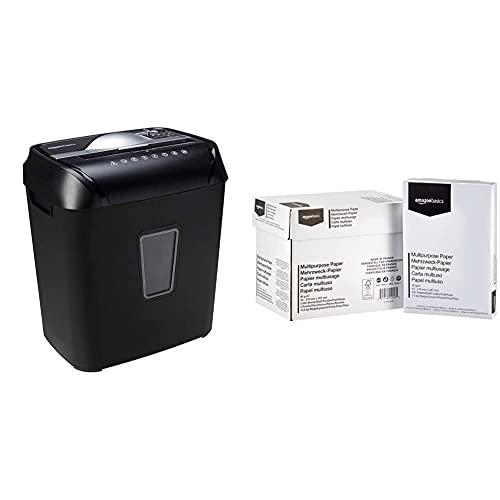 Amazon Basics – Kreuzschnitt-Schredder für 10-12 Blätter, für Papier und Kreditkarten & Druckerpapier, DIN A4, 80 g/m², 5x500 Blatt, Weiß