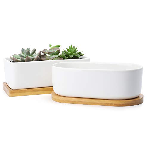 White Plant Pots - 6 Inch Rectangular Ceramic Planters with Bamboo Trays and Drainage Holes for Bonsai, Flowers or Succulents, Set of 2
