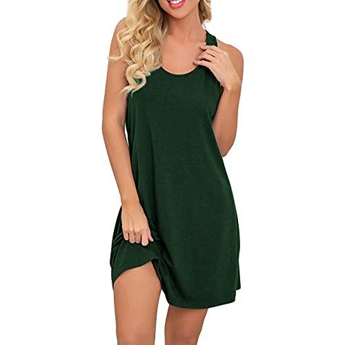 riou Vestido Algodón Mujer Sexy Tirantes Color Sólido Camisón de Dormir Ligero y Suave 2021 Casual Vestidos Verano Largos sin Mangas
