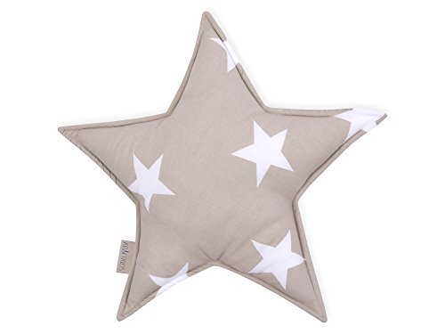 KraftKids Sternkissen große weiße Sterne auf Beige, 45 cm großes Kuschelkissen, Deko-Kissen für das Kinder-Zimmer