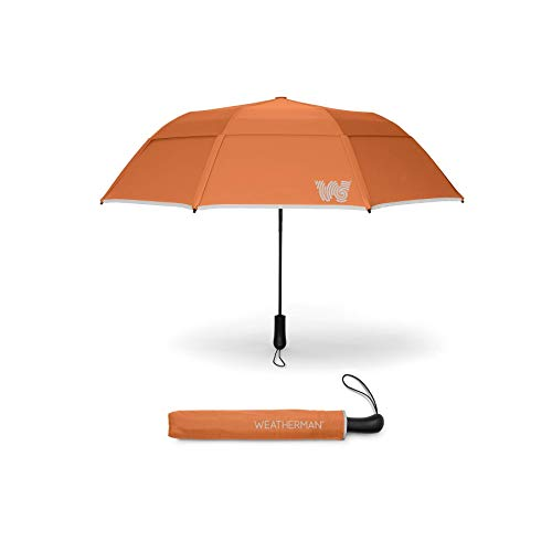 The Weatherman Umbrella - Collapsible Umbrella - Windproof Umbrella Resists Up to 55 MPH - Available in 8 Colors (Orange)