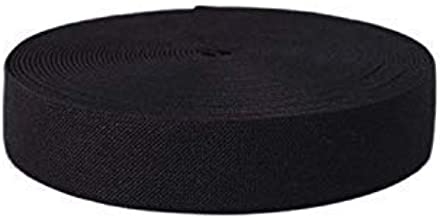 Trimming Shop 25mm Wide, 25 Metre Long Full Roll - Black Elastic Ribbon for Sewing and Crafts - Spool of Elastic Flat Band for Clothing - Stretchy Cord for Skirts and Trousers Waistbands