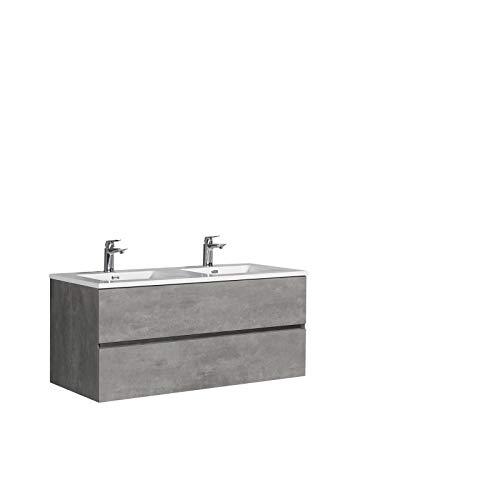 Badmöbel-Set EDGE 1200 - Farbe wählbar - Farbe:Beton, Farbe-Waschbecken:Weiß glänzend