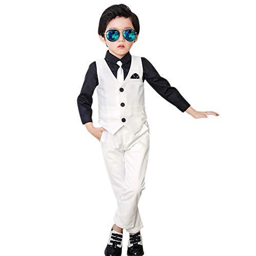 DAZISEN Conjunto de Traje Niños - Clásico Chalecos Pantalones Comunión Traje para Niño, Traje Ceremonia Niño, 3-8 años,Blanco-4 Piezas,EU 130=Tag 140