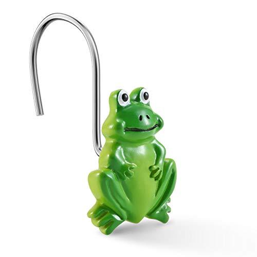 Chictie Set mit 12 Frosch-Duschvorhang-Haken aus Edelstahl, Cartoon-Design, dekorativer Badezimmer-Aufhänger, Ringe, Kinder, Lieblings-Tier, grün, Heimdekoration