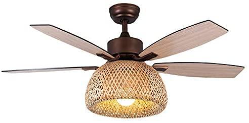 HEZHANG Design Creativo Ventilatore da Soffitto con Luci in Rattan Bambù 4 Lame in Legno Fenditore Luce Europea Retrò Lampadario Di Bambù Dimmerabile con Ventilatori Silenziosi Ventilatore a Soffitto