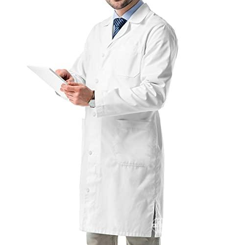 AIESI Bata de Laboratorio Medico para Hombre Blanco de algodón 100% sanforizado Talla 46