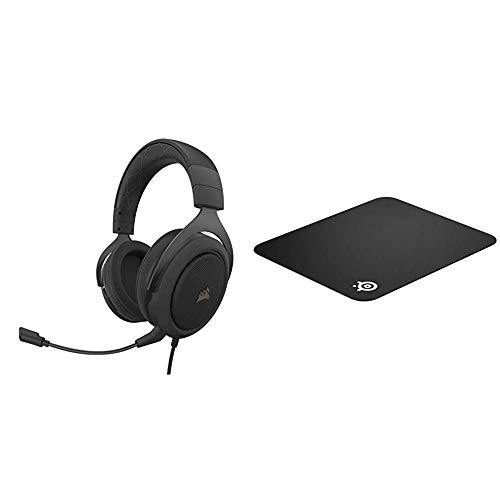 Corsair HS60 PRO - 7.1 Virtual Surround Sound Gaming Headset - Carbon & SteelSeries QcK Gaming Surface - Medium Cloth Mouse Pad of All Time - Optimized for Gaming Sensors