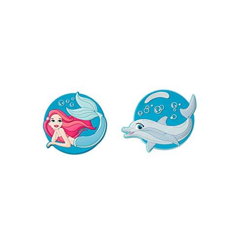 Parches con Cierre de Velcro, diseño de Sirena y delfín, Juego de 2, Cada uno de 7,5 cm de diámetro Aprox.
