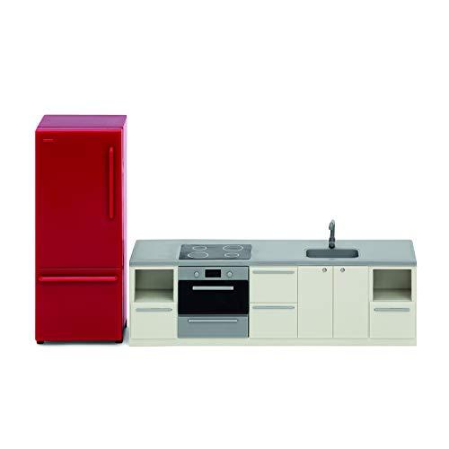 Lundby 60-306600 - Küche Puppenhaus rot/Weiss - Möbel 2-teilig - Puppenhauszubehör - Küchenzeile - Herd - Ofen - Kühlschrank - Küchenset - Zubehör - ab 3 Jahre - 11 cm Puppen - Minipuppen 1:18