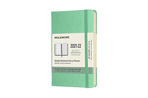 Moleskine - Agenda Settimanale 18 Mesi, Agenda Tascabile 2021/2022, Weekly Notebook con Copertina Rigida e Chiusura ad Elastico, Formato Pocket 9 x 14 cm, Colore Verde Ghiaccio, 208 Pagine