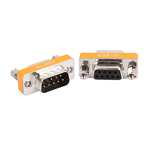 DB9 Null Modem Adapter RS232 Male to Female Serial Mini Cable Gender Changer Coupler Connector -2 Pack