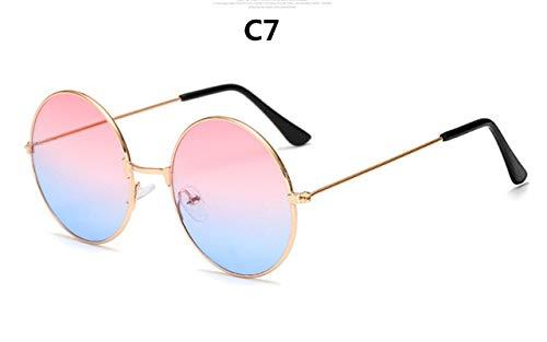 XIAODAN Burst Metal Circular Fashion Sunglasses Women Brand Design Retro Marine Lenses Red Personality Uv400 C7