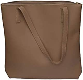 Girl's Tote bag double Strap with Plain-Zip for Office, & College Washable Polyurethane Leather Cream