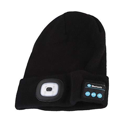 Hakeeta draadloze bluetooth-headset gebreide wollen muts met ledlampen, bluetooth-handsfree-functie, koudebestendig en warm, geschikt voor outdoor-sporten in de winter., ❱❱