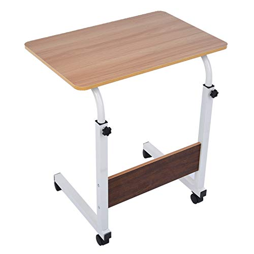 Mobile Side Table, Mobile Laptop Desk Cart, Adjustable Height Computer Desk with Wheels for Small Spaces,Sofa,Home Space-Saving, 60 * 40 * 67-90 cm