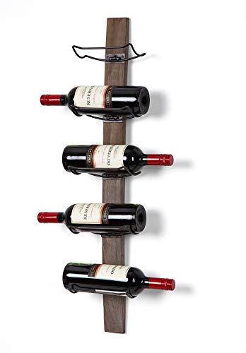 SODUKU Wall Mounted Wine Rack - Wine Bottle Holder Towel Rack, 5 Wine Bottle Rack Holder Shelf Rustic Wood Wall Wine Rack (Brown)