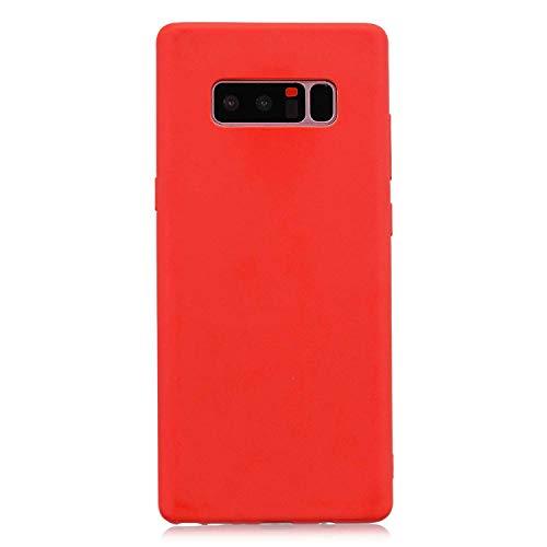 cuzz Coque Samsung Galaxy Note 8+{1 Pièces Protège Écran en Verre Trempé}Couleur Unie Premium Flexible Souple Silicone TPU Etui Mince Ultra-Lumière Anti-dérapante {Rouge}