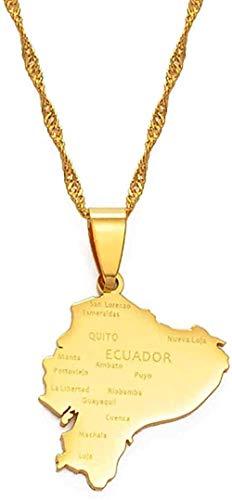 LBBYLFFF Collar con Colgante de Mapa de Ecuador, Collar s para Mujeres, Color Dorado, joyería con mapas, Collar patriótico ecuatoriano, Collar
