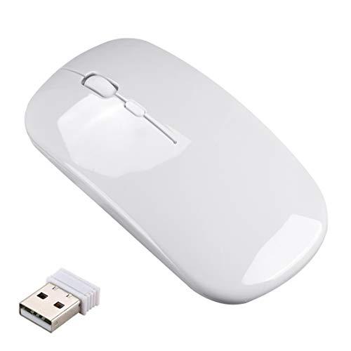 Ratón Inalámbrico Recargable,Mouse Wireless 2.4G Mute de Mouse Inalambrico,Ultra Delgado,Mini Receptor USB 1600 Dip Ajustable para Portatil/Computadora/Windows/Linux/PC/Mac(Blanco)