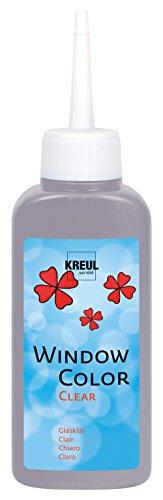 Kreul 40217 - Window Color Clear, raamschilderverf op waterbasis, voor gladde oppervlakken zoals glas, spiegels en tegels, 80 ml schilderfles, grijs
