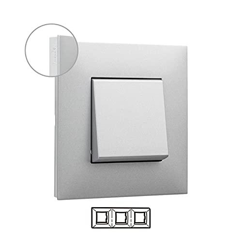 Placa embellecedora de 3 elementos, modelo Valena Next, color aluminio y cromo, 5 x 22,3 x 9 centímetros (referencia: Legrand 741043)