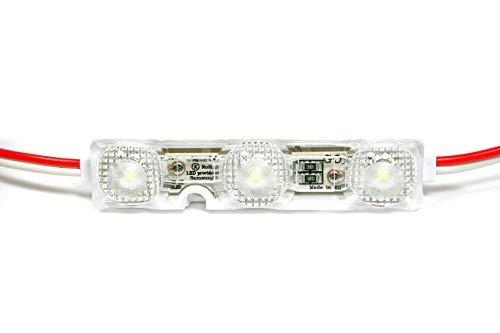 10 PZ MODULI A 3 LED 2835 GOQ SAMSUNG 1,08 WATT 12 V DC ANG. 175° IMPERMEABILI IP68 PER INSEGNE LUMINOSE (6500° K LUCE FREDDA (WHITE))