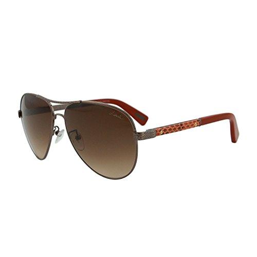 Lanvin SLN 037V 448X Women Hammered Bronze & Orange Leather Trim Aviator Sunglasses
