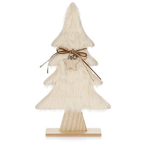 com-four® Expositor Decorativo para Navidad - Árbol de Navidad de Madera con Piel Artificial y Campanas - Árbol de Navidad como decoración navideña (01 Pieza de Abeto 40cm Color Crema)