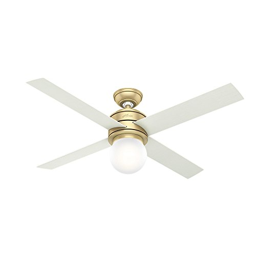 "HUNTER 59320 Hepburn Indoor Ceiling Fan with LED Light and Wall Control, 52"", Modern Brass"