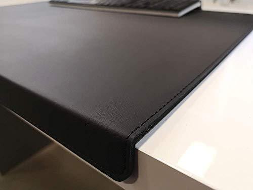 Protector de escritorio en ángulo con protección de bordes, piel auténtica, negro, 90 x 47 cm, piel de vacuno auténtica, liso, sin alfombrilla para ratón
