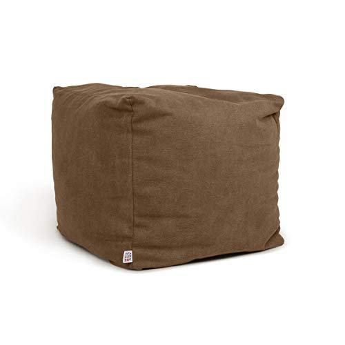 Arketicom Soft Cube Pouf Sacco Poggiapiedi Morbido Quadrato Sfoderabile Puff da Salotto 42x42 Sabbia