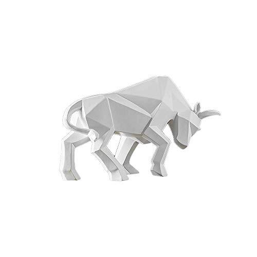 LKXZYX Escultura de Toro geométrico Abstracto Estatua de Resina de Buey Bisonte decoración de Oficina Arte del hogar Animal artesanía Adorno Accesorios Regalo para niños