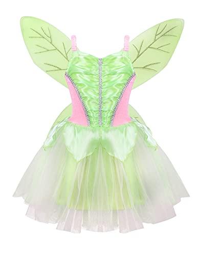 IEFIEL Disfraz Elfa para Beb Nia Vestido Hadas de Bosque para Fiesta Navidad Hallowen Carnaval Disfraz de Princesa Nia Cosplay Costume Verde A 2-4 aos