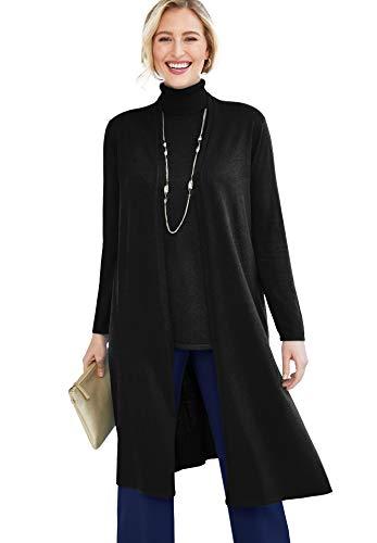 Jessica London Women's Plus Size Cotton Cashmere Duster Sweater - 22/24, Black