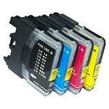 Brother LC980 / LC1100 Pack de 4 Cartouches de nettoyages compatibles - Noir/Cyan/Magenta/Jaune