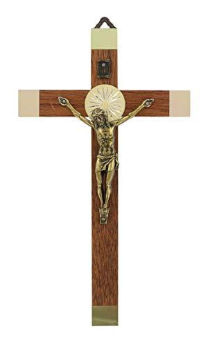 Ferrari & Arrighetti Crocifisso da Parete in Legno con Cristo in Metallo Brunito - 17 cm