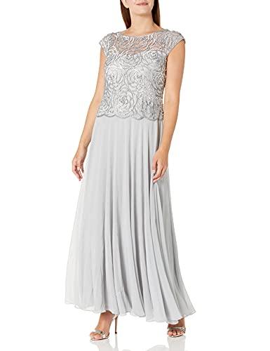 J Kara Women's Beaded Cowl Neck Flutter Sleeve Long Dress, Silver/Silver, 10 (Apparel)