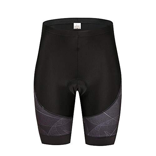 Fahrrad-Shorts für Damen, gepolstert, atmungsaktiv und schnelltrocknend, mit Gel-Schweiß, schwarze 3D-Polsterung Gr. S, Schwarz