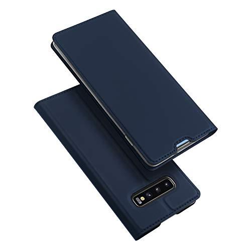DUX DUCIS Hülle für Samsung Galaxy S10 Plus, Leder Flip Handyhülle Schutzhülle Tasche Hülle mit [Kartenfach] [Standfunktion] [Magnetverschluss] für Samsung Galaxy S10 Plus (Blau)