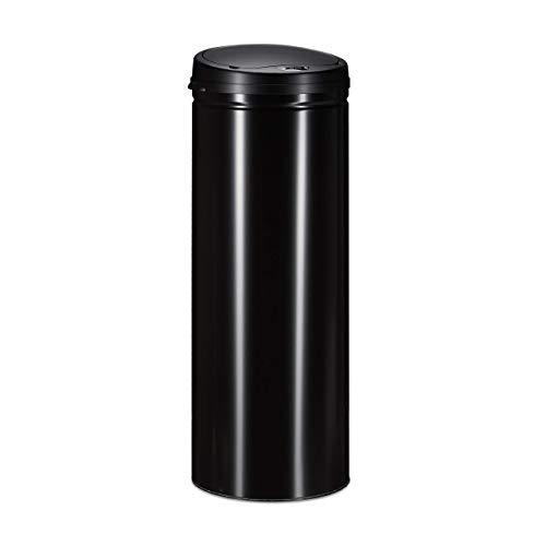 Relaxdays Mülleimer 50 L, mit Sensor, automatischer Deckel, aus Stahl, 80 cm hoch, 30 cm Durchmesser, schwarz