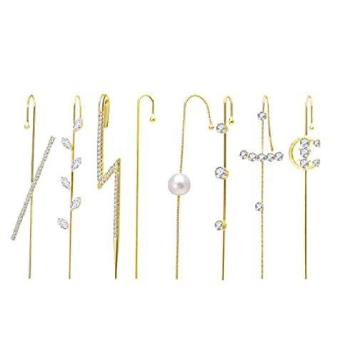 ZHANGTING 8PCS Pendientes Crawler de Orejas Pendientes Gancho Ear Cuff Crawler Hook Pendientes Piercing Ear Wrap Gold Cubic Zirconia Pendientes Regalo para San Valentín (Perla)