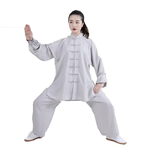 FASZFSAF Traje de Tai Chi Uniforme, traje de artes marciales de algodón Tai Chi, adecuado para artes marciales, ejercicios matutinos, competiciones, actuaciones, gris, XS