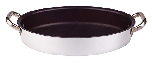 Pentole Agnelli ALSA120S34 Tegame Ovale con Maniglie, Alluminio, Argento, 34 cm