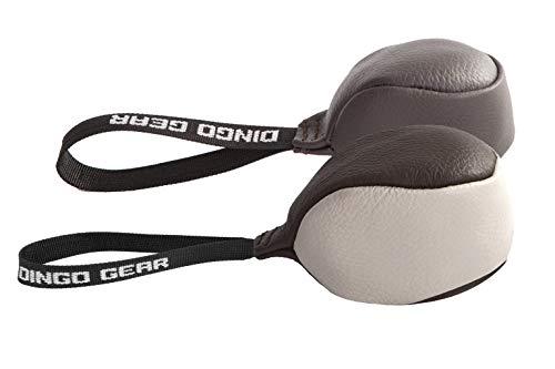 Dingo Gear Hundespielzeug Soft Ball mit einem Griff aus echtem Narbenleder für das Beißtraining für Hunde, 2 Stück: 8 cm + 11 cm